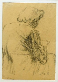 Grandmother - Original Pencil Drawing by Giuseppe Mazzullo - 1933
