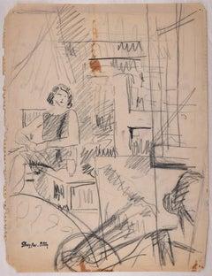 Interior Scene Sketch - Original Charcoal Drawing by J. Dreyfus-Stern