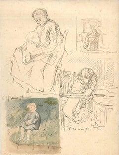 Maternity - Original China Ink Drawing by E. Morin - 1874