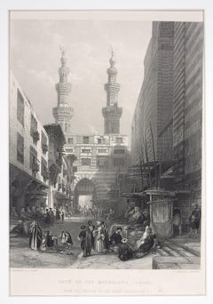 Gate Of The Metwáleys - Cairo - Original Etching by E. Challis - 1860s