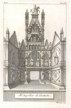 The Sepulchre of Ladislao. Original Etching by Augusto Fornari - Mid 1800