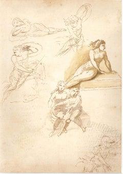 Studies on Women Figures - Original Ink Drawing by Anonymous Italian Artist 1800