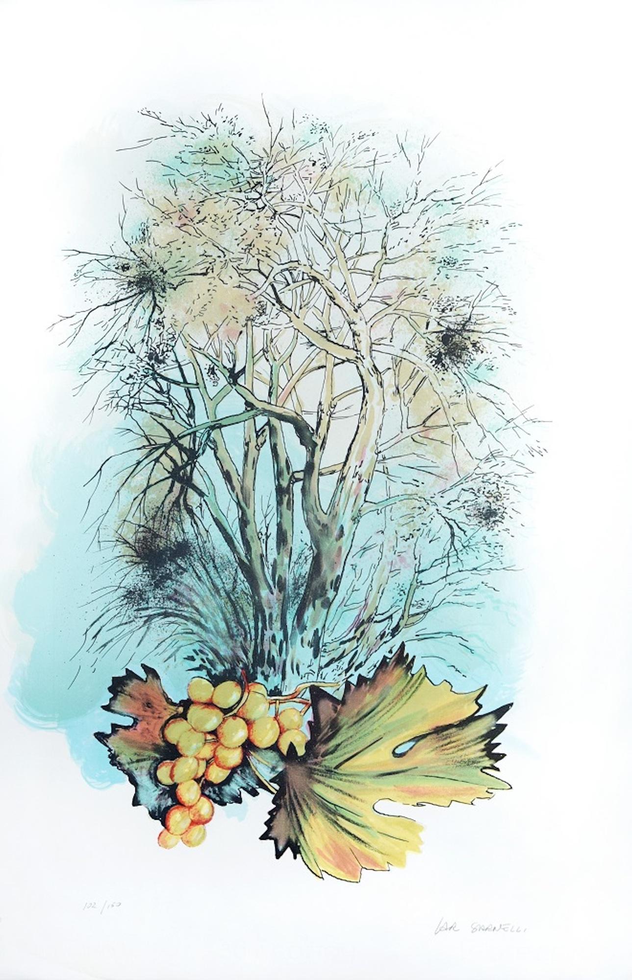 The Garden - Original Lithograph by A. Russo Sarnelli - 1990s