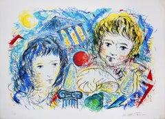 Children in Colors - Original Lithograph by M. Capitani - 1990s
