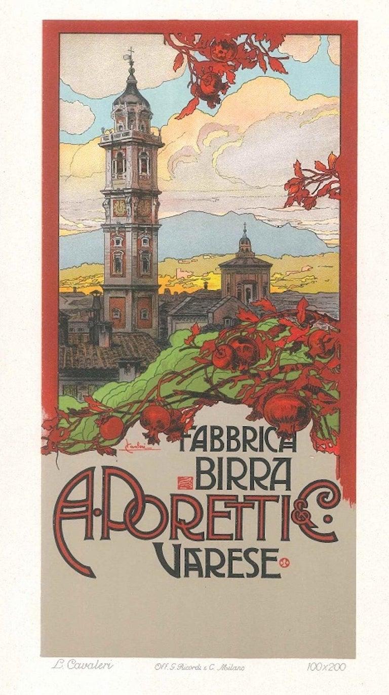 Ludovico Cavalieri Landscape Print - Fabbrica Birra Poretti - Original Lithograph by L. Cavalieri - 1900 ca.