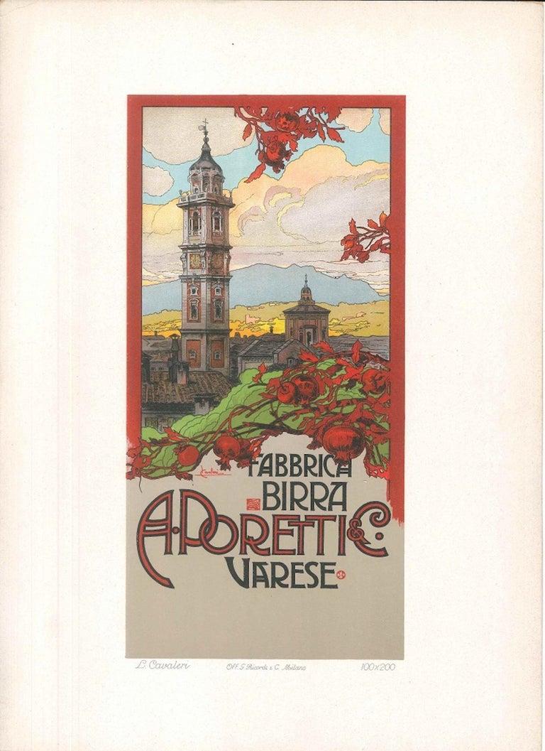 Fabbrica Birra Poretti - Original Lithograph by L. Cavalieri - 1900 ca. - Print by Ludovico Cavalieri