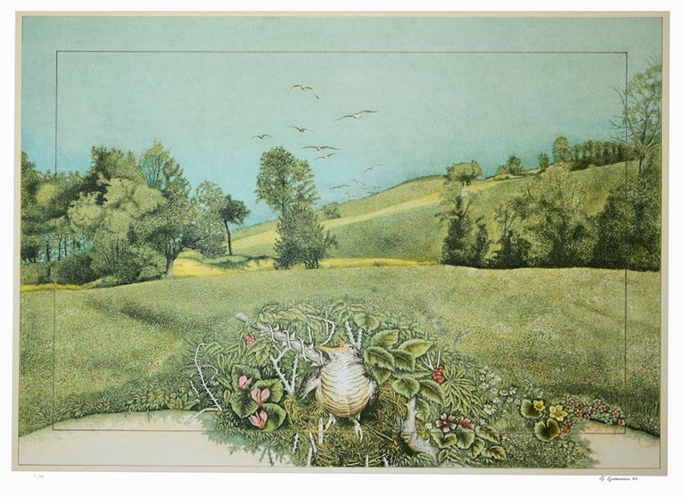 Giuseppe Giannini Landscape Print - Natural Oasis - Lithograph on Silver Paper by G. Giannini - 1980
