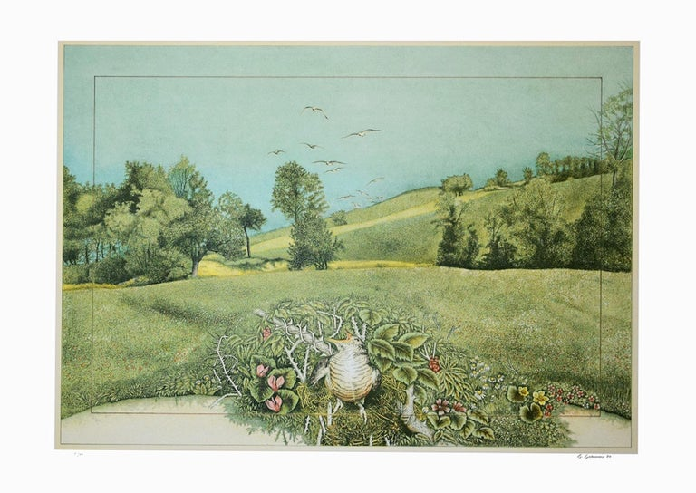 Natural Oasis - Lithograph on Silver Paper by G. Giannini - 1980 - Print by Giuseppe Giannini