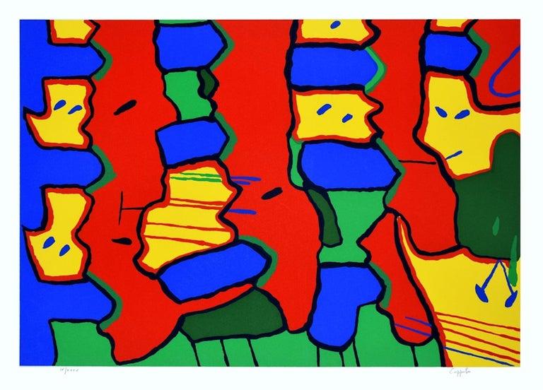 Enzo Coppola Abstract Print - Tetris - Original Screen Print by E. Coppola - 1973