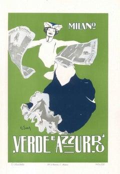 Verde e Azzurro - Original Advertising Lithograph by E. Sacchetti - 1914 ca.