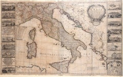 Map Of Italy - Original Etching by George Willdey - 1715