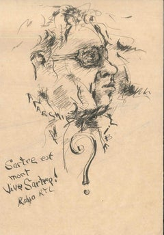 Sartre est mort - Original Ink Drawing by Anonymous French Artist 2nd half 1900