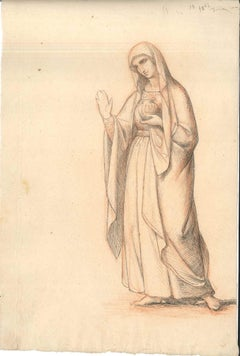 Vestal Virgin - Original China Ink Drawing by Anonymous European Artist 1800