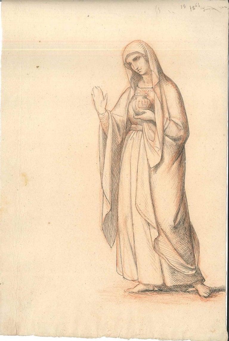 Unattributed Figurative Art - Vestal Virgin - Original China Ink Drawing by Anonymous European Artist 1800