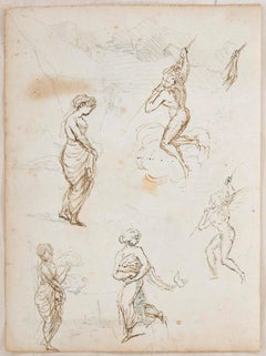Studies with Landscape - Ink and Pencil on Paper y Anonymous Master - Early 1800