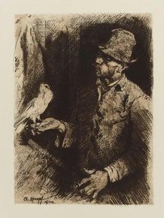 Taubenliebhaber (Pigeon Fanciers) - Original Etching by Arthur Kampf - 1904