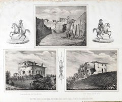 Ruins of War - Original Lithograph y Anonymous 19th Century Italian Artist