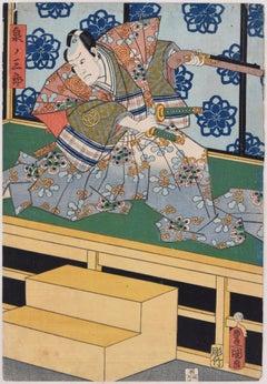 Kabuki Scene - Original Woodcut by Utagawa Kunisada - Mid/Late 19th Century