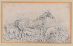 Horse with Herds - Original China Ink Drawing by Filippo Palizzi - 1895