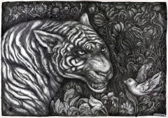 The Tiger - Original China Ink on Paper by Maria Ginzburg - 2018