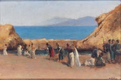 Women on the Beach - Original Oil Painting by Domenico Colao-Early 20th century