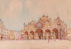 View of Piazza San Marco, Venice - Original Watercolor by N. Cipriani