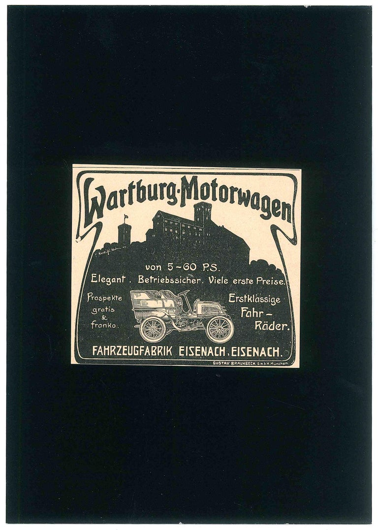 Wartburg Car Advertising is an original illustration realized at the end of the XIX century.   Good condition- Glued on black cardboard (21 x 14.7 cm).  This vintage illustration is advertising from a newspaper of the beginning of XX century and it