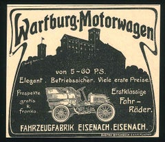 Wartburg Car Advertising - Original Vintage Advertising on Paper - End of 1800