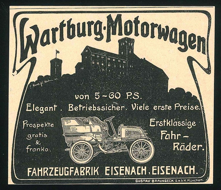 Wartburg Car Advertising - Original Vintage Advertising on Paper - End of 1800 - Art by Unknown
