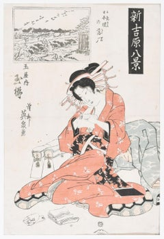 The Courtesan - Original Woodblock Print by Eisen Keisai - First Half of 1800