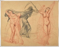Death and Other Figures-Original Charcoal Drawing by Unknown French Master 1900
