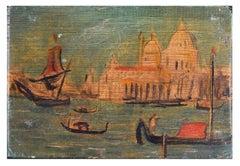 Venice, Santa Maria della Salute - Original Oil on Wooden Panel by Hans Gill