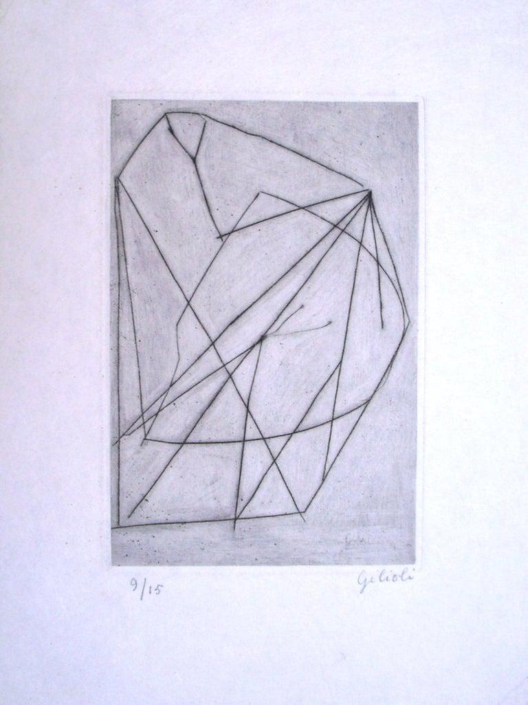 Émile Gilioli Abstract Print - Untitled . Original Etching by Emile Gilioli - Mid 20th Century