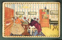 Chess Game - Original Vintage Postcard designed by Mitzi Marbach - Early 1900