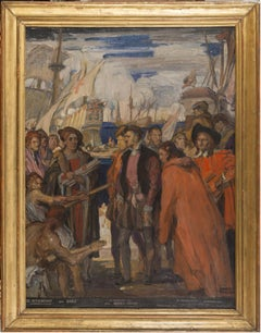 The Arrival of Cristoforo Colombo - Original Oil on Canvas by C.D. Fouqueray