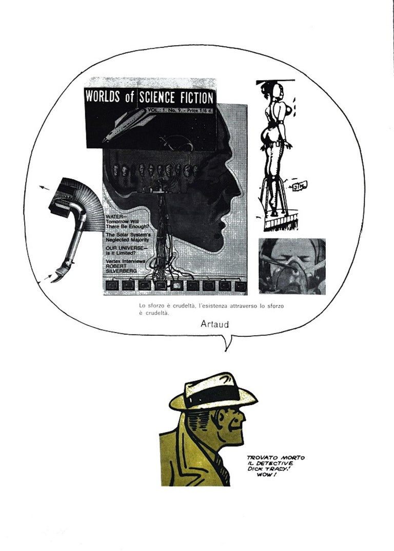 Science Fiction is an original artwork realized by Sergio Sarri in 1978.  Original colored lithograph and etching on paper.  Hand signed and dated by the artist on the lower right. Numbered on lower left. Edition 64/180.   Good conditions except for