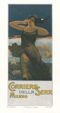 Corriere della Sera - Original Advertising Lithograph by G. Beltrami - 1910