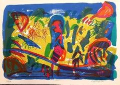 Cespuglio all'Adda - Original Lithograph by Ugo Maffi - 1974