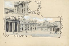 Piazza San Pietro - Original China Ink Drawing by A. Terzi - 1899