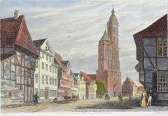 Der Wollmarkt mit der Andreaskirche - Original Etching by C.L. Frommel