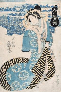 Geisha - Original Woodcut Print by Utagawa Toyokuni II - 1810 ca.