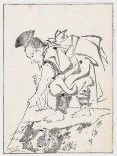 Samurai - Original Woodblock Print by Takibana Morikuni - Mid 1700