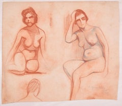 Studies for Female Nudes - Original Pencil Drawing by D. Ginsbourg - 1918