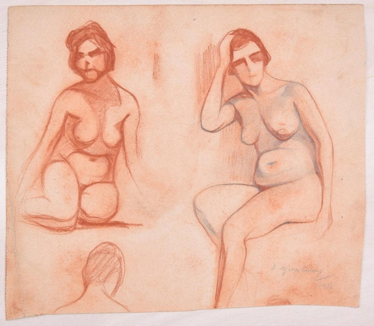 Daniel Ginsbourg Figurative Art - Studies for Female Nudes - Original Pencil Drawing by D. Ginsbourg - 1918