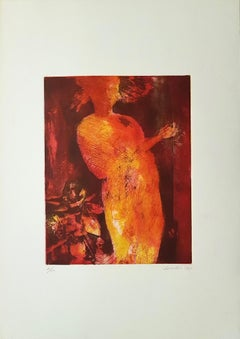 Female Silouhette - Original Etching by Nino Cordio - 1969