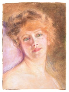 Female Portrait - Original Pastel Drawing Early 1900