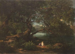 Landscape with Bathers - Original Oil on Canvas by A. Amici - 1858