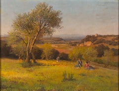 Roman Countryside with Three Female Figures - Original Oil on Canvas by P. Sassi