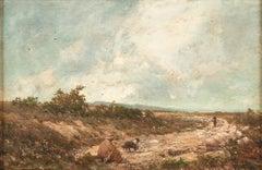 Mountain Landscape - Original Oil on Canvas by V. Avondo - 1870s
