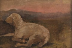Lamb - Original Oil on Canvas by G. Marchini - End of 19th Century